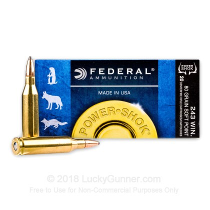 Large image of 243 Ammo For Sale - 80 gr SP - Federal Power-Shok Ammo Online