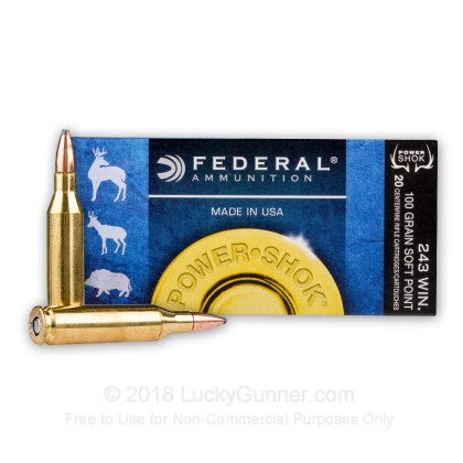 Large image of 243 Ammo For Sale - 100 gr SP - Federal Power-Shok Ammo Online
