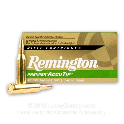 Large image of Premium 243 Win Ammo For Sale - 95 Grain Accutip Polymer Tip Ammunition in Stock by Remington Premier - 20 Rounds