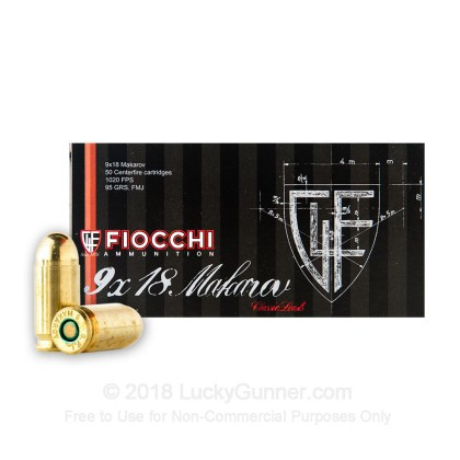 Large image of Cheap 9mm Makarov (9x18mm) Luger Ammo For Sale - 95 gr FMJ Fiocchi Ammunition For Sale - 50 rounds