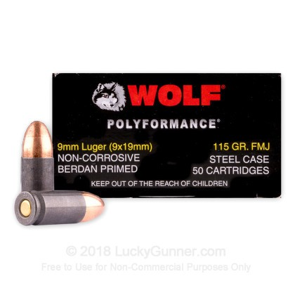 Image 2 of Wolf 9mm Luger (9x19) Ammo