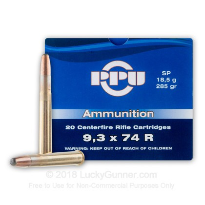 Large image of Cheap 9.3x74r Ammo For Sale - 285 Grain SP Ammunition in Stock by Prvi Partizan - 20 Rounds