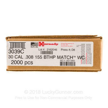 Large image of Bulk 308 (.308) Bullets For Sale - 155 Grain HPBT Match Bullets in Stock by Hornady - 2000