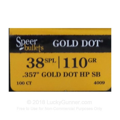 Large image of Bulk 38 Special (.357) Bullets for Sale - 110 Grain JHP Bonded Bullets in Stock by Speer - 100