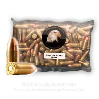 Image 1 of Military Ballistics Industries 9mm Luger (9x19) Ammo