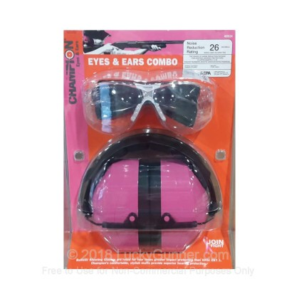 Large image of Cheap Eye & Ear Protection For Sale - 26 NRR Pink Earmuffs and Clear Shooting Glasses in Stock by Champion Target - 1 Combo Set