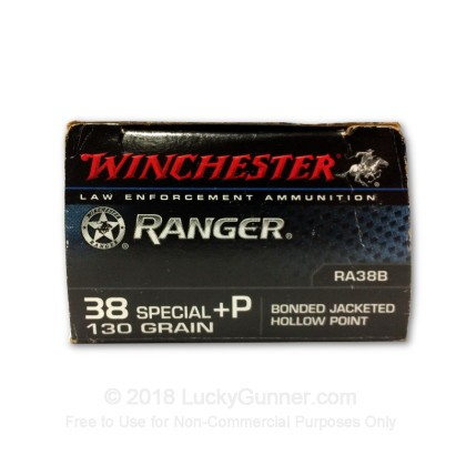 Large image of Premium 38 Special +P 130 Grain Bonded JHP Ammo From Winchester Ranger for Sale At Lucky Gunner - 50 Rounds