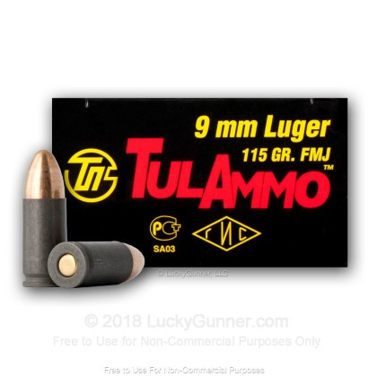 Image 3 of Tula Cartridge Works 9mm Luger (9x19) Ammo