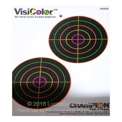 "Large image of Cheap Target For Sale - Sight-In Targets in Stock by Champion VisiColor (45826) - 5"" Bullseye - 10 Count Pack"