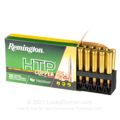 Large image of Premium 270 Ammo For Sale - 130 Grain TSX Ammunition in Stock by Remington HTP Copper - 20 Rounds
