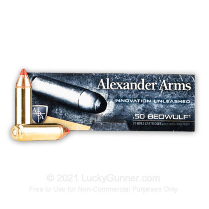 Large image of Premium 50 Beowulf Ammo For Sale - 300 Grain FTX Ammunition in Stock by Alexander Arms - 20 Rounds