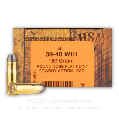 Premium 38 40 Wcf Ammo For Sale 180 Grain Hard Lead Rnfp Ammunition In Stock By Hsm Cowboy Action 50 Rounds