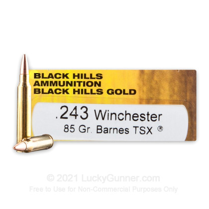 Large image of Premium 243 Ammo For Sale - 85 Grain Barnes TSX HP Ammunition in Stock by Black Hills Gold - 20 Rounds