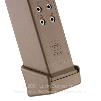 Large image of Factory Glock 9mm G17/19/26 33 Round Magazine For Sale - Flat Dark Earth