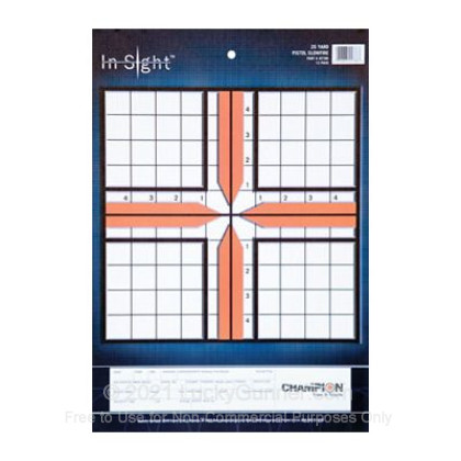 Large image of Champion Targets For Sale - In-Sight 25 Yard Pistol Sight-In Targets - 12 Pack