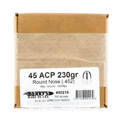 Large image of Berry's Bullets 45 ACP 230 gr RNDS For Sale - 500