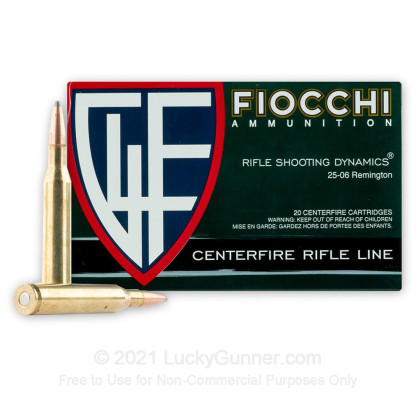 Large image of Premium 25-06 Ammo For Sale - 117 Grain SP-BT Ammunition in Stock by Fiocchi - 20 Rounds