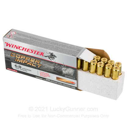 Large image of Premium 6.8 Western Ammo For Sale - 162 Grain Extreme Point Ammunition in Stock by Winchester Copper Impact - 20 Rounds