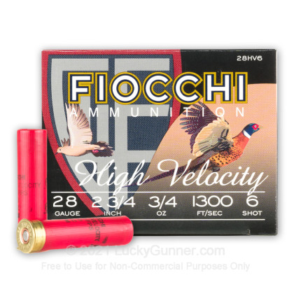 """Large image of Cheap 28 Gauge Ammo For Sale - 2-3/4"""" 3/4oz. #6 Shot Ammunition in Stock by Fiocchi - 25 Rounds"""