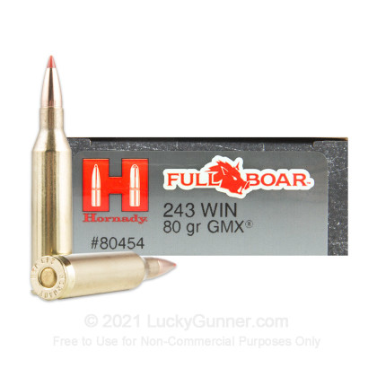 Large image of Hornady Full Boar 243 Win 80gr GMX Ammunition For Sale At Lucky Gunner! - 20 Rounds