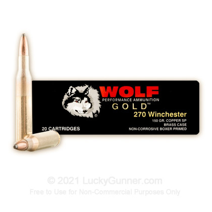 Large image of 270 Ammo For Sale - 150 gr SP - Wolf Gold Ammo Online - 20 Rounds