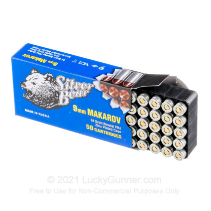 Large image of Cheap 9mm Makarov (9x18mm) Ammo For Sale - 94 gr FMJ Silver Bear Ammunition For Sale - 50 Rounds