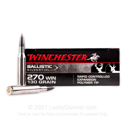 Large image of Premium 270 Ammo For Sale - 130 Grain PT Ammunition in Stock by Winchester Ballistic Silvertip - 20 Rounds