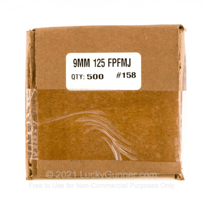 """Large image of Premium 9mm (.355"""") Bullets for Sale - 125 Grain FMJ-FP Bullets in Stock by Zero Bullets - 500 Projectiles"""
