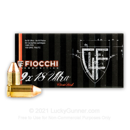 Large image of Cheap 9x18 Ultra Ammo For Sale - 100 gr FMJ Fiocchi Ammunition For Sale - 50 Rounds