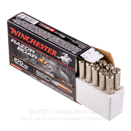 Large image of Premium 270 Ammo For Sale - 130 gr HP - Winchester Razorback XT Ammo Online - 20 Rounds