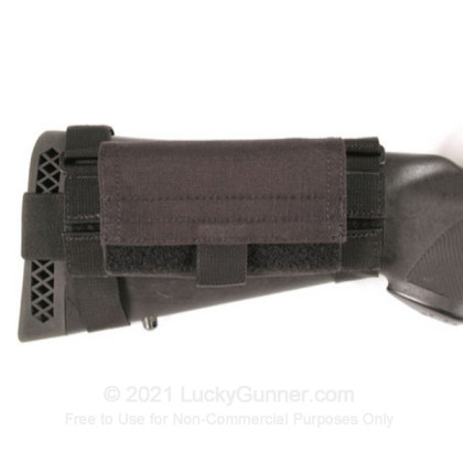 Large image of Buttstock Shell Holder with Lid - Universal Shotgun 5 Round - Fixed Stock - Blackhawk - Black For Sale