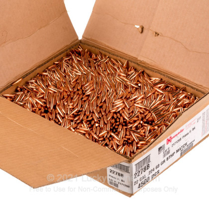 Large image of Bulk 223 Rem (.224) Bullets for Sale - 68 Grain HPBT Match Bullets in Stock by Hornady - 100