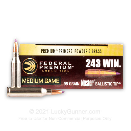 Large image of Premium 243 Ammo For Sale - 95 Grain Nosler Ballistic Tip Ammunition in Stock by Federal Vital-Shok - 20 Rounds