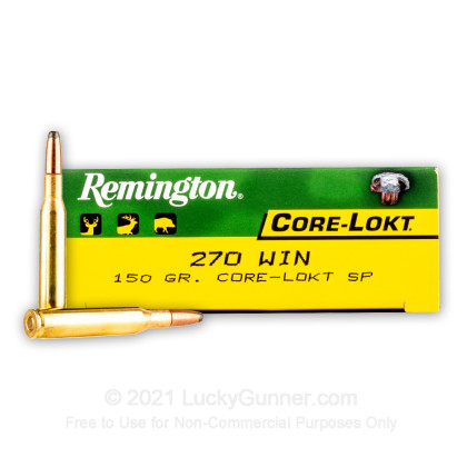 Large image of Bulk 270 Ammo For Sale - 150 gr SP - Remington Core-Lokt Ammo Online - 200 Rounds