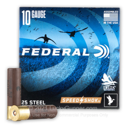 """Large image of Cheap 10 Gauge Ammo For Sale - 3-1/2"""" 1-1/2oz. BB Steel Shot Ammunition in Stock by Federal Speed-Shok - 25 Rounds"""