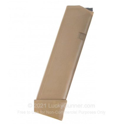 Large image of Factory Glock 9mm G17/19X 19 Round Magazine For Sale - 19 Rounds - Coyote Tan