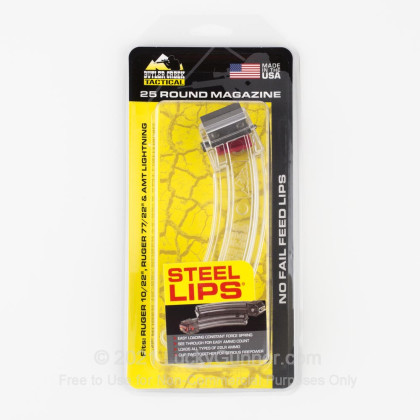 Large image of Butler Creek Steel Lips 10/22 Magazine for Sale - 25 Round Capacity - MO112562 - Clear Plastic - In Stock - Luckygunner.com