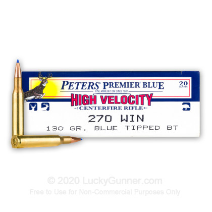 Large image of Premium 270 Ammo For Sale - 130 Grain Blue Tipped BT Ammunition in Stock by Remington Peters Premier Blue - 20 Rounds