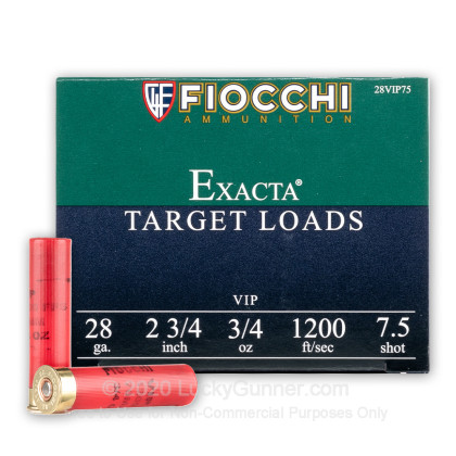 Large image of Cheap 28 Ga Fiocchi #7-1/2 Target Ammo For Sale - Fiocchi Premium Exacta 28 Ga Shells - 25 Rounds