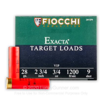 Large image of 28 Ga Fiocchi #9 Target Ammo For Sale - Fiocchi Premium Exacta 28 Ga Shells - 25 Rounds