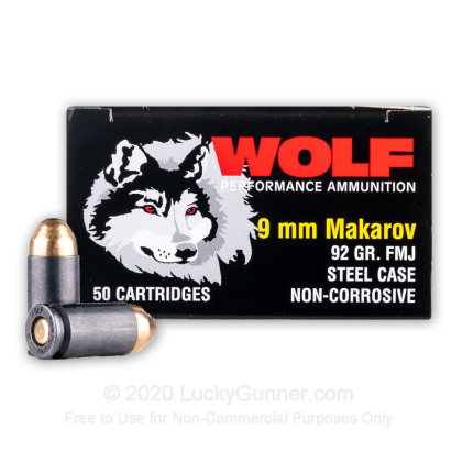 Large image of Bulk 9mm Makarov Ammo For Sale - 92 Grain FMJ Ammunition in Stock by Wolf - 1000 Rounds