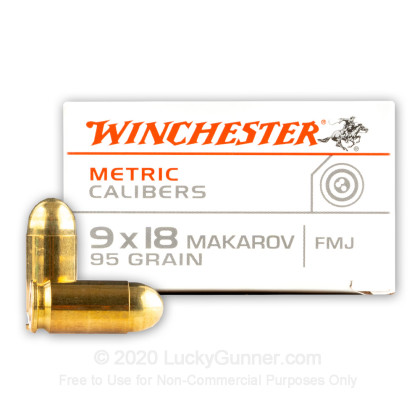 Large image of Cheap 9mm Makarov (9x18mm) Luger Ammo For Sale - 95 gr FMJ Winchester Ammunition For Sale - 50 rounds