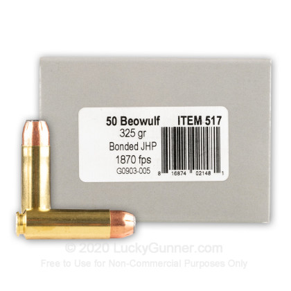 Large image of Premium 50 Beowulf Ammo For Sale - 325 Grain Bonded JHP Ammunition in Stock by Underwood - 20 Rounds