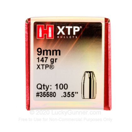 """Large image of Bulk 9mm (.355"""") Bullets for Sale - 147 Grain XTP HP Bullets in Stock by Hornady - 100"""