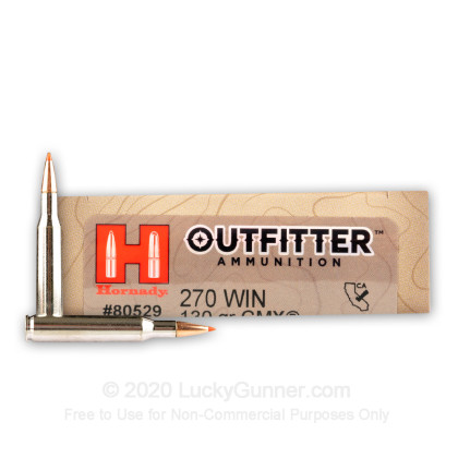 Large image of Premium 270 Ammo For Sale - 130 Grain GMX Ammunition in Stock by Hornady Outfitter - 20 Rounds