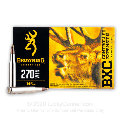 Large image of Premium 270 Ammo For Sale - 145 Grain Controlled Expansion Terminal Tip Ammunition in Stock by Browning BXC - 20 Rounds