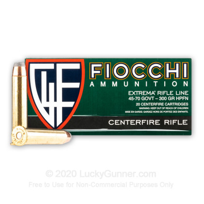 Large image of Cheap 45-70 Government Ammo For Sale - 300 Grain JHC Ammunition in Stock by Fiocchi - 20 Rounds
