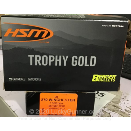 Large image of Premium 270 Ammo For Sale - 130 Grain VLD Hunting Ammunition in Stock by HSM Trophy Gold - 20 Rounds