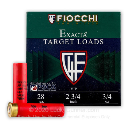 Large image of Cheap 28 Ga Fiocchi #8 Target Ammo For Sale - Fiocchi Premium Exacta 28 Ga Shells - 25 Rounds