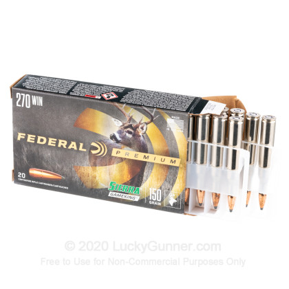Large image of Premium 270 Ammo For Sale - 150 Grain SPBT Ammunition in Stock by Federal Premium - 20 Rounds